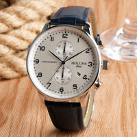 HOLUNS Calendar Genuine Leather Band 50m Water Resistant Chronograph Wrist Watch
