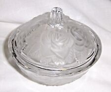 Clear Candy Dish with Frosted Embossed Roses Design around Dish & Matching Lid
