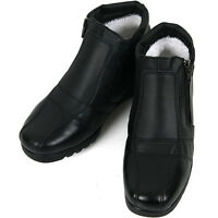 New Black Womens Winter Zip Ankle Wedge Heels Boots Snow Warm Leather Shoes Nova