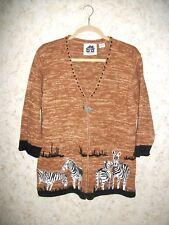 Storybook Knits Zebra Sunset Embroidered Cardigan Zippered Brown Beaded Medium