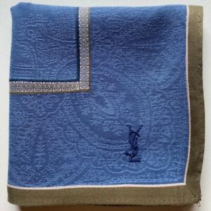 "USED  HANDKERCHIEF BLUE CLASSIC ART PAISLEY COTTON 18"" POCKET SQUARE HANKY MEN"