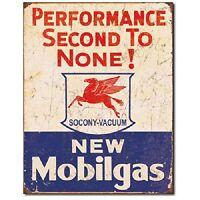 Mobil Gas Gasoline Service Garage Performance Retro Wall Decor Metal Tin Sign