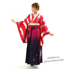 Japanese Hakama Kimono Women Gradation Red Embroidered Design Andon- Brand New
