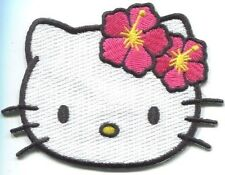 HELLO KITTY head shot EMBROIDERED PATCH  **FREE SHIPPING** -c phk4 pink flowers
