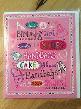 Happy Birthday Greeting Card - Girl Shoes Handbag Cake*NEW* (048)