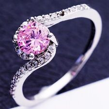 Size 10 Fashion Cool Design Pink C.Z Women Lady White Gold Plated Rings