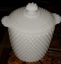 """Vintage Anchor Hocking White Milk Glass Hobnail Cookie Jar Canister with lid 9"""""""