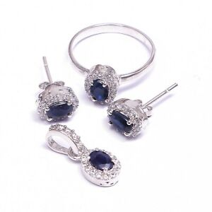 Natural Blue Sapphire Halo Ring Earrings Pendant Jewelry Set 925 Sterling Silver
