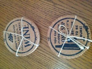 Cork Drink Coasters 2 Assorted Sayings, 4 In A Pack Rapped In Twine