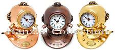 Set of 3 Copper Brass Divers Diving Helmet Clock Antique Collectible halloween