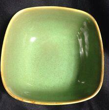 "RARE Oneida Asheville Green Stoneware 6 1/4"" Square Soup Salad Bowls Set of 3"