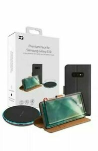 Xqisit Samsung Galaxy S10 Pack Screen Protector Wallet Case & 10W Charger Pad