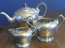 antique  silver plate TEA POT milk and sugar set