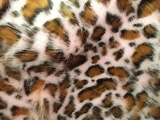 BROWN AND PINK LEOPARD SHAG FAUX FUR LONG PILE FABRIC BY THE YARD