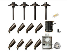 LED Low Voltage Solid Brass Spot / Path & Area Light Landscape Lighting 12pk Kit