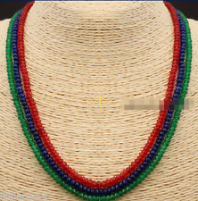 NATURAL 3 Rows 2X4mm FACETED Emerald Ruby&Sapphire Gemstone Necklace 17-19''