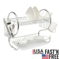 2 Tier Dish Drainer Drying Rack Kitchen Storage Stainless Steel Large Capacity W