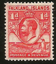 FALKLAND ISLANDS FIN WHALE GENTOO PENGUIN & GEORGE V MINT STAMP ISSUED IN 1920s