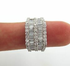 Fine 18KT White Gold Baguette & Round Diamonds Wedding Ring Band 3.25Ct
