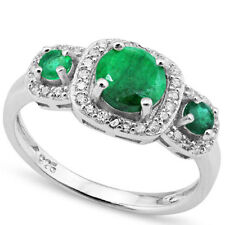 LOVELY 1.65 CTW GENUINE DIAMOND & ENHANCED EMERALD IN 925 STERLING SILVER RING