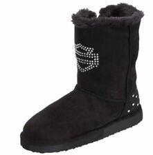 Harley Davidson Emmalyn D83798 Black Faux Fur Teens Boots Sz 4.5 Youth / 6 Women