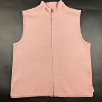 Woolrich Womens M Pink Wool Quilted Full Zip Mock Neck Sweater Vest