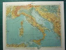 1921 MAP ~ ITALY PHYSICAL ~ SARDINIA SICILY NAPLES ROME TUSCANY EMILIA