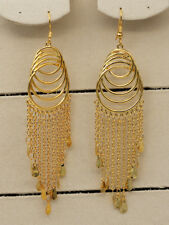 18K Gold Filled - 4.3'' Swirl Tassel Multilayer Circle Chandelier Women Earrings