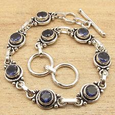 925 Silver Plated CHRISTMAS Fashion ! Original IOLITE 8 Gemset Bracelet 7.5 Inch