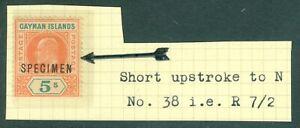 SG 16s Cayman Islands 1907. 5/- salmon & green, overprinted specimen. Unmount...