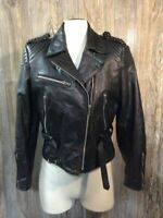 Vintage Bermans Leather Womens Fringed Motorcycle Jacket Pads Quilted Lining H9