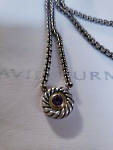 """Gently Pre-Loved Authentic David Yurman Amethyst Cookie Necklace 18kGold/SS 16"""""""