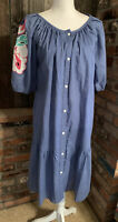 Union Made Vintage Drop Waist Snap Up Blue Dress Embroidered Sleeves Cottagecore