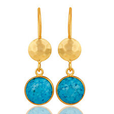 22K Gold Plated Silver Turquoise Gemstone Womens Dangle Earrings 40mm