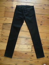 J BRAND UK6 L24 W29 LADIES JET BLACK STRETCH DENIM SKINNY JEANS