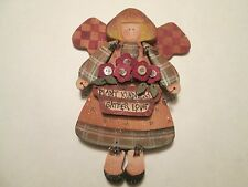 """(M) Wooden Angel Wall Hanging """"Plant Kindness Gather Love"""", 10"""" High & 7.5"""" Wide"""