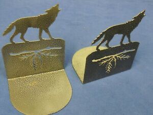 Wolf Metal Bookends New