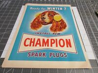 1949 Champion Spark Plugs 'Ready for Winter?' vintage print Ad ~ Dog