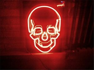"17""x14""SKULL Neon Sign Light Handmade Real Glass Tube Wall Hanging Visual Art"