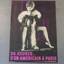 Affiche cinéma 64 originale film érotique sexy,24 heures d un Américain a Paris
