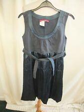 Ladies Dress Miss Sixty size M, grey lined polyester, satin puff skirt, tie 1830