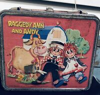 Vintage Raggedy Ann and Andy Metal Lunchbox Rare 1973 NEEDS TLC LUNCH BOX TIN