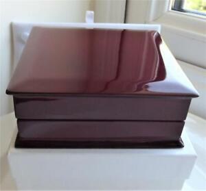 LUXURY MAHOGANY BROWN GLOSSY WOODEN JEWELLERY BOX 10.5cm x 10.5cm x 3.5cm NEW