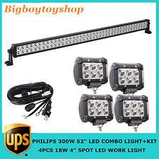 "KIT 52"" 300W PHILIPS LED Light Bar COMBO Off-roads Fog 4WD JEEP 9-32V 4X18W Spot"