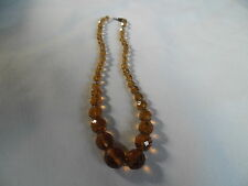 Vintage Art Deco Faceted Yellow Amber Glass Crystal Graduated  Bead Necklace