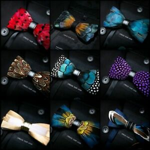 Feather Bowtie Men Exquisite Handmade Tie Brooch Pin Fashion Party Accessories