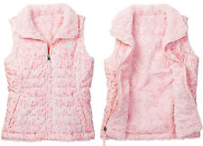 The North Face Girls Mossbud Reversible Swirl Vest Coy Pink Fur Print Size Xl 18
