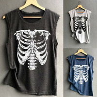 Womens Gothic Tank Tops Punk Skull Vest Shirts Punk Tops T-Shirts Plus Size