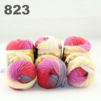 Sale New 6 Skeins x50gr Rainbows Multicolor Hand Knit Wool Yarn Wrap Scarves 23
