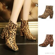 Womens Leather Velvet Ankle Boots Sexy Leopard Print Block Heel Shoes Side Zip
